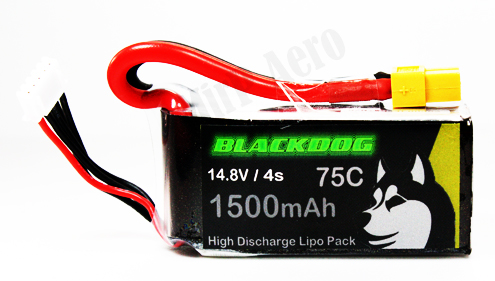 #LB007H BLACKDOG Li-po Battery 4s 1500mah 14.8V 75C (XT60 CON)