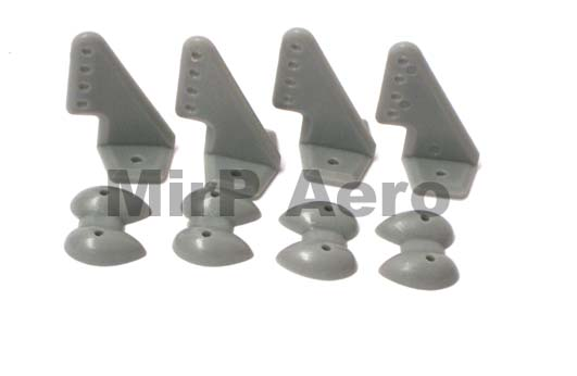 #A038G Control Horns 20x27mm (4pcs/set) Grey