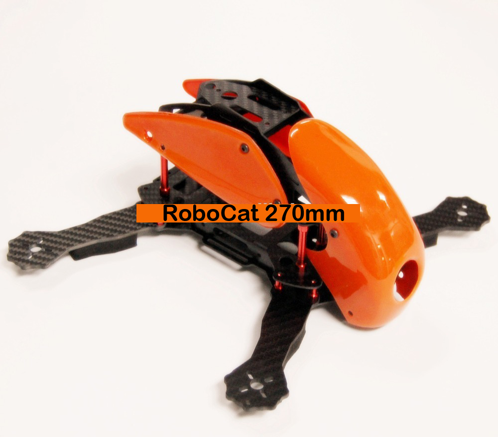 #QD0-O RoboCat 270mm Carbon Fiber Quadcopter Frame (Orange) - Click Image to Close